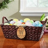 Easter Basket With Personalized Wood Egg - Initial - 14089-I