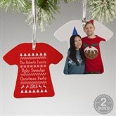 2-Sided Ugly Sweater Personalized T-Shirt Ornament - 14094-2