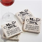 The Happy Couple Personalized Tumbled Stone Coaster Set - 14102