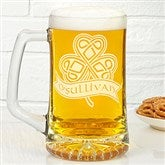 Celtic Shamrock Personalized Deep Etch Beer Mug