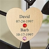 Engraved Family Tree Birthstone Heart Disc- Gold - 14193D