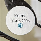 Engraved Family Tree Birthstone Round Disc- Silver - 14196D