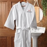 Mrs. White Velour Embroidered Robe - 1429-MRS