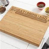 Eat, Drink & BBQ Personalized Bamboo Cutting Board - 14377