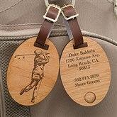 Vintage Golfer Personalized Wood Bag Tag - 14389