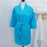 Embroidered Aqua Kimono Robe- Monogram - 14396-RM
