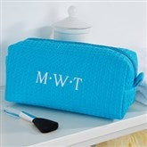 Embroidered Aqua Make-up Bag- Monogram - 14396-BM