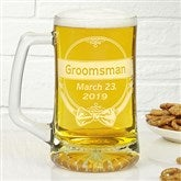 Cheers To The Groomsman 25 oz. Personalized Beer Mug - 14491