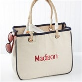 Embroidered Canvas Rope Tote- Name