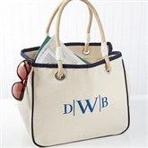 Embroidered Canvas Rope Tote- Monogram - 14555-RM
