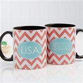 Preppy Chic Personalized Coffee Mug 11 oz.- Black - 14559-B