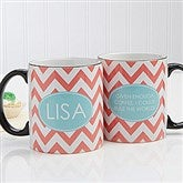 Preppy Chic Personalized Coffee Mug 11 oz.- Black - 14559-B