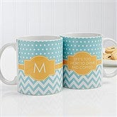 Preppy Chic Personalized Coffee Mug 11 oz.- White - 14559-W