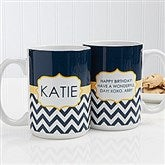 Preppy Chic Personalized Coffee Mug 15 oz.- White - 14559-L