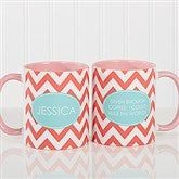 Preppy Chic Personalized Coffee Mug 11 oz.- Pink - 14559-P