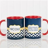 Preppy Chic Personalized Coffee Mug 11 oz.- Red - 14559-R