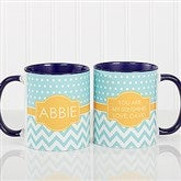 Preppy Chic Personalized Coffee Mug 11 oz.- Blue - 14559-BL
