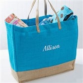 Turquoise Burlap Embroidered Tote- Name - 14566-N