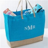Turquoise Burlap Embroidered Tote- Monogram - 14566-M