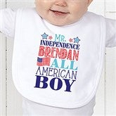 Red, White and Blue Personalized Infant Bib - 14577-B