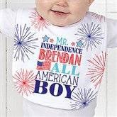 Red, White and Blue Personalized Baby Bib - 14577-B