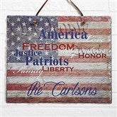 Patriotic Family Personalized Slate Plaque - 14581