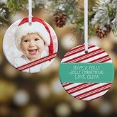 2-Sided Candy Cane Personalized Photo Ornament- Small - 14594-2
