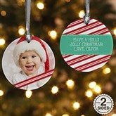 2-Sided Candy Cane Personalized Photo Ornament - 14594-2