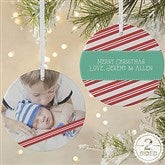 2-Sided Candy Cane Personalized Photo Ornament- Large - 14594-2L
