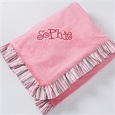 Pink Velour Embroidered Baby Blanket - 14610-N