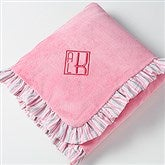 Pink Velour Embroidered Monogram Baby Blanket - 14610-M