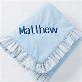 Blue Velour Embroidered Baby Blanket - 14611-N