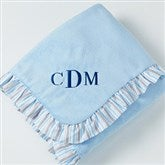 Blue Velour Embroidered Baby Blanket - 14611-M