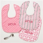 Pretty In Pink Personalized Baby Bib - Set of 3 - 14612