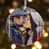 1-Sided Stripe Personalized Photo Ornament - 14637-1