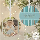 2-Sided Stripe Personalized Photo Ornament- Large - 14637-2L