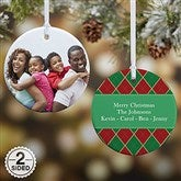 2-Sided Christmas Argyle Personalized Photo Ornament- Small - 14639-2