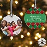 2-Sided Christmas Argyle Personalized Photo Ornament - 14639-2