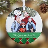 1-Sided Christmas Argyle Personalized Photo Ornament- Small - 14639-1
