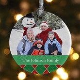1-Sided Christmas Argyle Personalized Photo Ornament - 14639-1