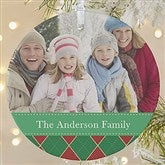 1-Sided Christmas Argyle Personalized Photo Ornament- Large - 14639-1L
