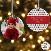 2-Sided Polka Dot Christmas Personalized Photo Ornament - 14641-2
