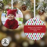 2-Sided Polka Dot Christmas Photo Ornament- Small - 14641-2