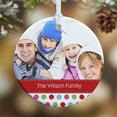 1-Sided Polka Dot Christmas Photo Ornament- Small - 14641-1