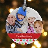 1-Sided Polka Dot Christmas Personalized Photo Ornament - 14641-1