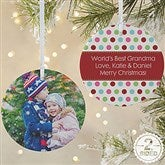 2-Sided Polka Dot Christmas Photo Ornament- Large - 14641-2L
