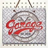 His Garage Rule Personalized Slate Plaque - 14690