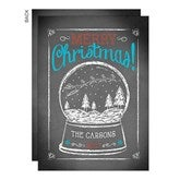 Snow Globe Personalized Christmas Flat Card- No Photo - 14722-NP