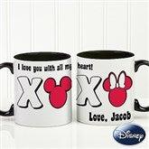 Disney® XOXO Personalized Black Handle Coffee Mug - 14741