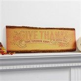 Give Thanks Personalized Basswood Plank Sign - 14744